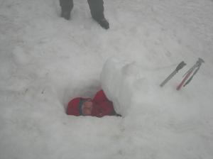 Snow coffin