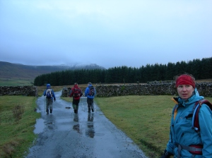 Looking back to Whernside but Ingleborough looms in the distance
