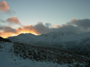 Looking back towards Helvellyn and Striding edge as dusk arrives