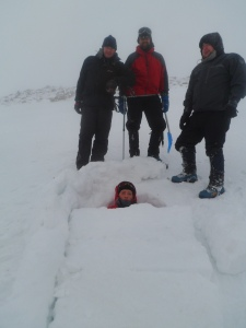 A Snow coffin, a type of an emergency shelter