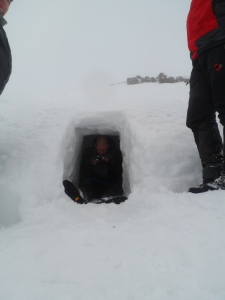 A Standard emergency snow shelter.