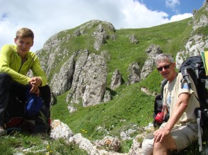 Mike and Vitaly having a rest on the way up the slope.