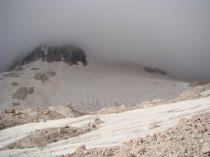 The west side of Fisht showing the peak in cloud and the galcier