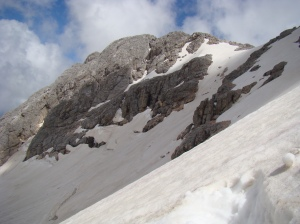 Looking back up towards the summit and the ridge