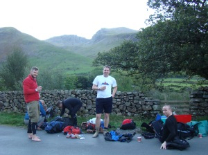 A tired bunch of lads after the ascent of Scafell Pike