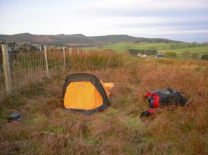 Cocoon bivy pitched in usual UK countryside